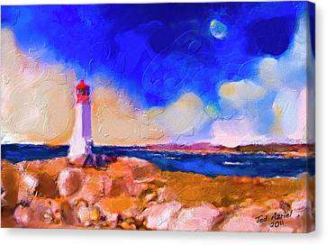 Canvas Print featuring the painting Light House At Peggys Cove by Ted Azriel