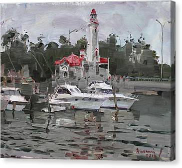 Credit River On Canvas Print - Light House In Mississauga On by Ylli Haruni
