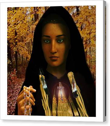 Canvas Print featuring the painting Saint Kateri Tekakwitha Light In The Darkness by Suzanne Silvir