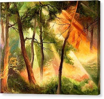 Canvas Print featuring the painting Light In The Forest by Mikhail Savchenko