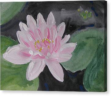 Canvas Print featuring the painting Light Pink Water Lily by Vikram Singh