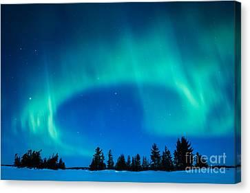 Light Swirl On Rainy Lake Canvas Print