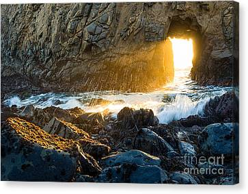 Light The Way - Arch Rock In Pfeiffer Beach In Big Sur. Canvas Print by Jamie Pham
