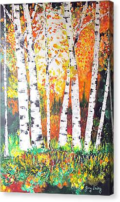 Canvas Print featuring the painting Sunrise On Birch by Gary Smith