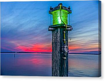 Canvas Print featuring the photograph Light Tower In Evening Gloom by Alex Weinstein