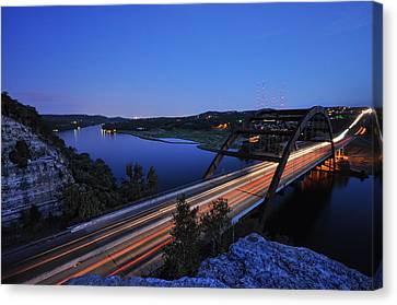 Light Trails At Pennybacker Bridge Canvas Print by Kevin Pate