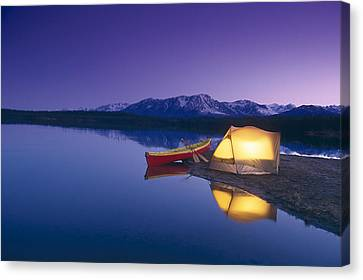 Lighted Tent & Canoe Byers Lake Tokosha Canvas Print by Michael DeYoung