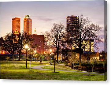 Canvas Print featuring the photograph Lighted Walkway To The Tulsa Oklahoma Skyline by Gregory Ballos