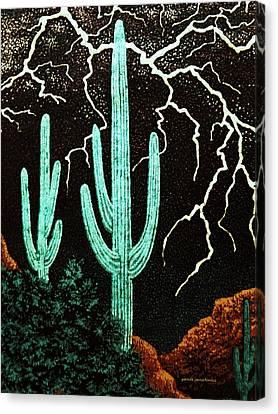 Lightening In The Desert Canvas Print by Patricia Januszkiewicz