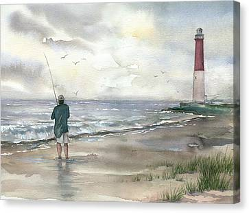 Lighthouse And Fisherman Canvas Print by Beth Kantor