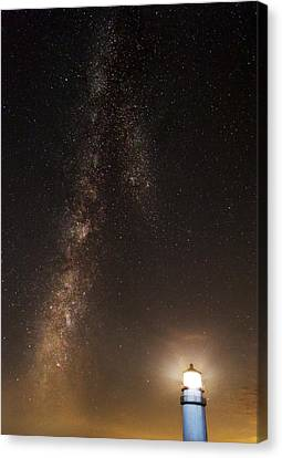 Lighthouse And Milky Way Canvas Print