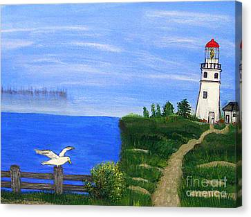 Lighthouse And Seagull  Canvas Print by Mindy Bench