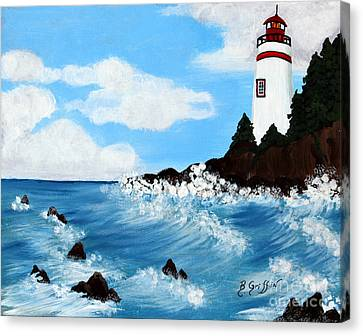 Lighthouse And Sunkers Canvas Print by Barbara Griffin