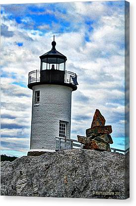 Rocky Maine Coast Canvas Print - Lighthouse And The Cairn by Murray Dellow