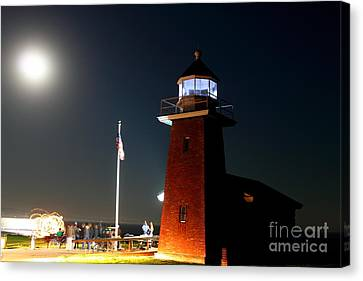 Canvas Print featuring the photograph Lighthouse And The Full Moon by Theresa Ramos-DuVon