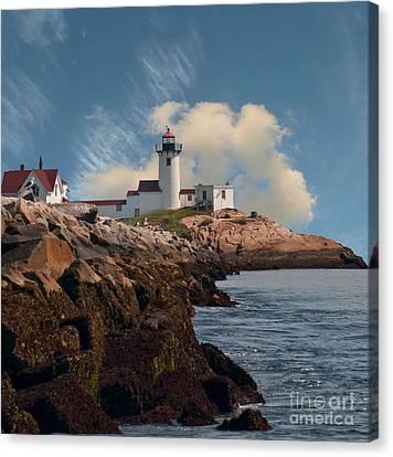 Lighthouse At Cape Ann's Harbor Canvas Print