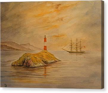 United Kingdom Canvas Print - Lighthouse At Cornwall by Juan  Bosco