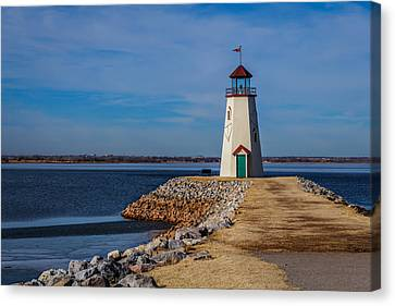 Lighthouse At East Wharf Canvas Print by Doug Long