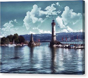 Lighthouse At Lindau Canvas Print by Georgiana Romanovna