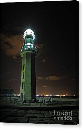 Canvas Print featuring the photograph Lighthouse At Night by Mohamed Elkhamisy