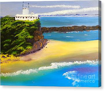 Canvas Print featuring the painting Lighthouse At Nobbys Beach Newcastle Australia by Pamela  Meredith