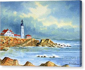 Lighthouse At Portland Head Maine Canvas Print by Bill Holkham