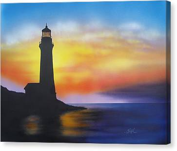 Lighthouse At Sunset Canvas Print by Chris Fraser