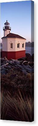 Lighthouse At The Coast, Coquille River Canvas Print by Panoramic Images