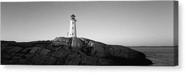 Lighthouse At The Coast, Peggys Point Canvas Print by Panoramic Images