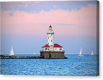 Lighthouse At The Navy Pier Canvas Print by Lynn Bauer