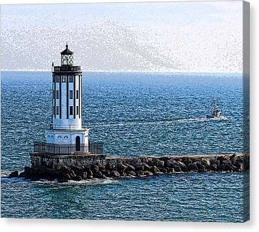 Ports Canvas Print - Lighthouse At The Port Of Los Angeles by Deborah Boyd