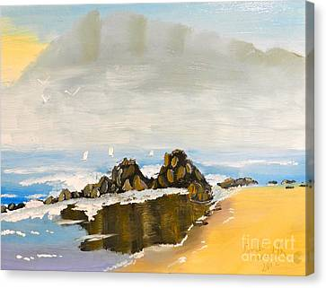 Lighthouse Beach Canvas Print by Pamela  Meredith