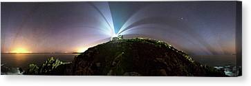 21st Century Canvas Print - Lighthouse Beams At Night by Laurent Laveder