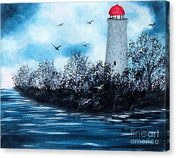Lighthouse Blues Canvas Print by Barbara Griffin