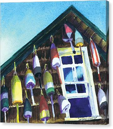 Canvas Print featuring the painting Lighthouse Buoys Maine by Susan Herbst