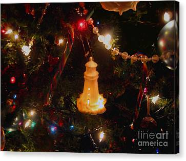 Lighthouse Christmas Canvas Print by Roxy Riou