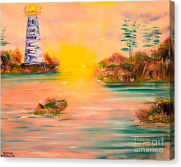 Canvas Print featuring the painting Lighthouse For Mom by Denise Tomasura