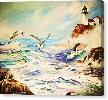 Lighthouse Gulls And Waves Canvas Print by Al Brown