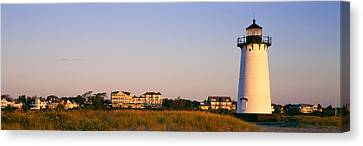 Lighthouse In A Town, Edgartown Canvas Print by Panoramic Images