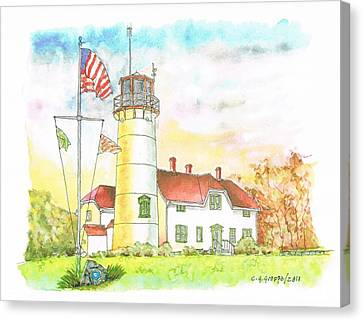Lighthouse In Cape Code - Massachussetts Canvas Print by Carlos G Groppa