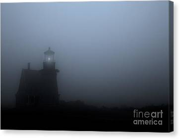 Lighthouse In Fog Canvas Print by Diane Diederich