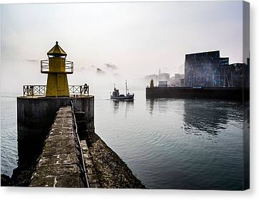 Lighthouse In Reykjavik Harbor, Harpa Canvas Print by Panoramic Images