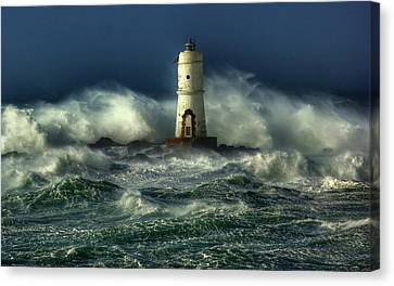 Lighthouse In The Storm Canvas Print by Gianfranco Weiss