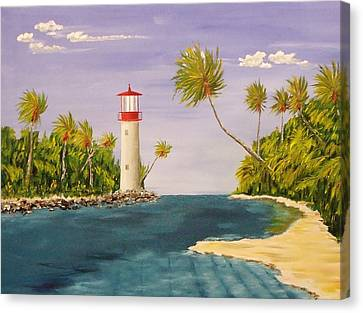 Lighthouse In The Tropics Canvas Print