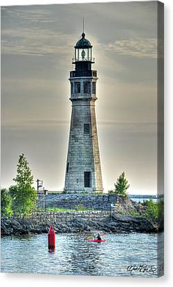 Lighthouse Just Before Sunset At Erie Basin Marina Canvas Print