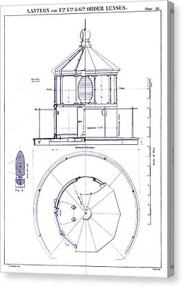 Lighthouse Lantern Lense Order Blueprint Canvas Print by Jon Neidert