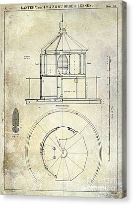 Lighthouse Lantern Order Blueprint Antique Canvas Print by Jon Neidert