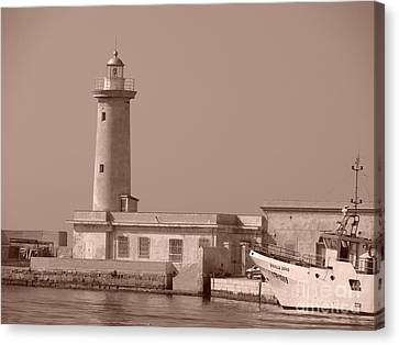 Lighthouse Marsala Canvas Print