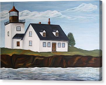 Lighthouse - New England Coast Sold Canvas Print by Christiane Schulze Art And Photography
