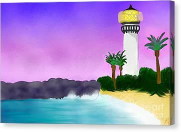 Lighthouse On Beach Canvas Print by Anita Lewis